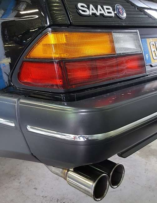 Rear Stainless Exhaust pipe with TWIN ROUND TAILPIPE for saab 900 turbo